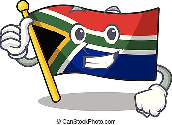 Thumbs up flag south africa with cartoon shape