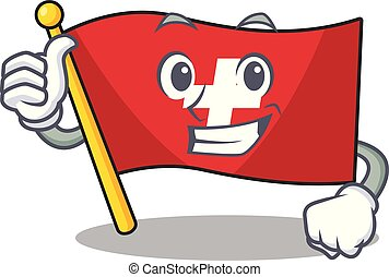 Thumbs up flag switzerland isolated in the character