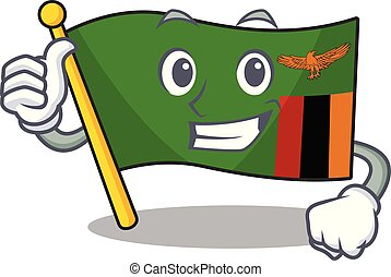 Thumbs up flag zambia shape with the cartoon