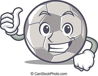 Thumbs up football character cartoon style