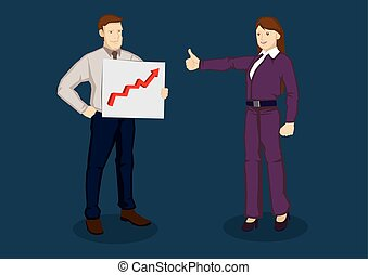 Thumbs Up for Good Performance Vector Cartoon Illustration -...