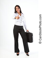 Thumbs up for success - Beautiful young business woman with...