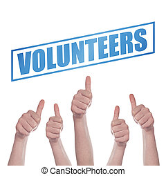Thumbs up for volunteering concept, hands approving and...