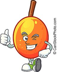 Thumbs up fresh jocote character mascot in cartoon
