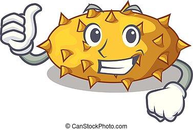 Thumbs up fruit Kiwano the isolated on mascot