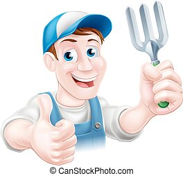 Thumbs up Gardener with Fork