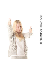 Thumbs up gesturing blonde