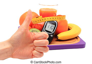 Thumbs up, glucometer and healthy ingredients with tape measure