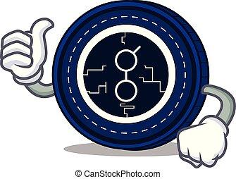 Thumbs up golem coin character cartoon