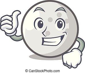 Thumbs up golf ball character cartoon
