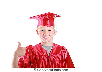 thumbs up graduation kid