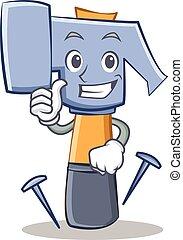 Thumbs up hammer character cartoon emoticon