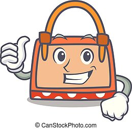 Thumbs up hand bag character cartoon