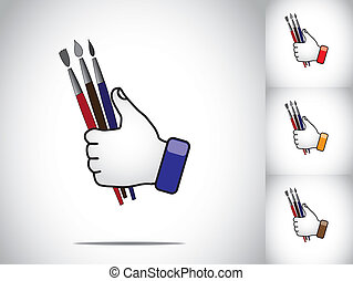 thumbs up hand hold color brushes