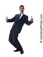 Thumbs up! - happy man in blue suit with his thumbs in the...