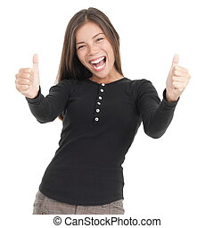 Thumbs up happy woman
