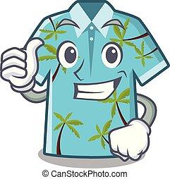 Thumbs up hawaiian shirt isolated in the character