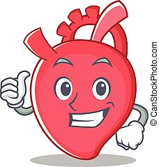 Thumbs up heart character cartoon style