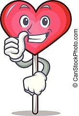 Thumbs up heart lollipop character cartoon vector ...