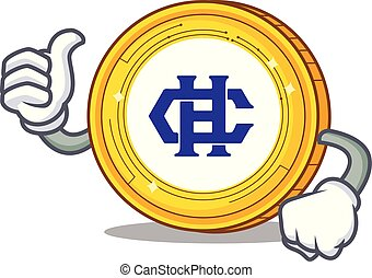 Thumbs up Hshare coin character cartoon