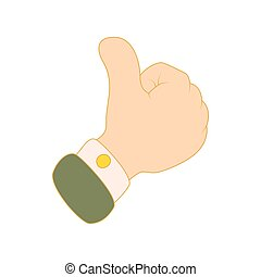 Thumbs up icon, cartoon style