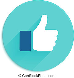Thumbs up icon. Flat style social network vector icon for app and web site