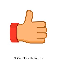 Thumbs Up Icon Flat Style. Vector