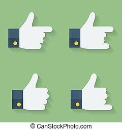 Thumbs up icon set. Flat style
