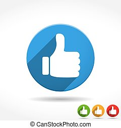 Thumbs Up Icon - Thumbs up icon, flat design, vector eps10 ...