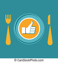 Thumbs Up icon with plate, fork and knife. like food
