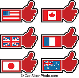 Thumbs Up Icons Representing World