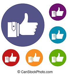 Thumbs up icons set in flat circle reb, blue and green color...