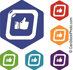 Thumbs up icons vector hexahedron