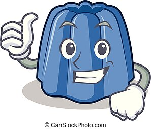 Thumbs up jelly character cartoon style