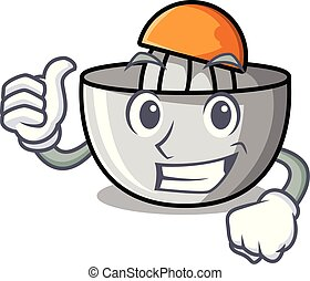 Thumbs up juicer character cartoon style