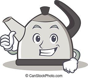 Thumbs up kettle character cartoon style vector illustration