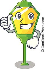 Thumbs up lamp post in isolated on mascot