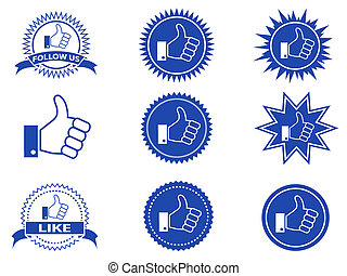 isolated facebook like buttons from white bakground