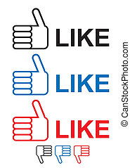 thumbs up like icon with hand and fingers in red blue and...