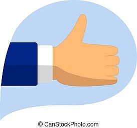 Thumbs up like modern icon, flat shadow