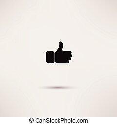 Thumbs up like modern icon, flat st