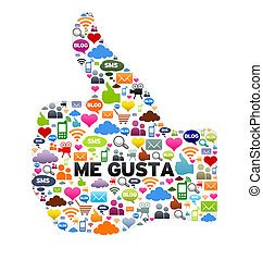 Me Gusta - Thumbs up, Me Gusta button on white background.