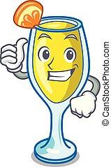 Thumbs up mimosa character cartoon style