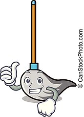 Thumbs up mop character cartoon style