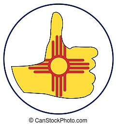 New Mexico Flag hand giving the thumbs up sign all over a white background