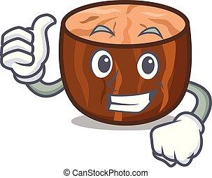 Thumbs up nutmeg character cartoon style