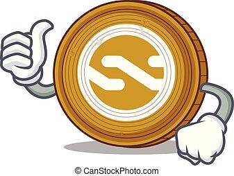 Thumbs up Nxt coin character cartoon