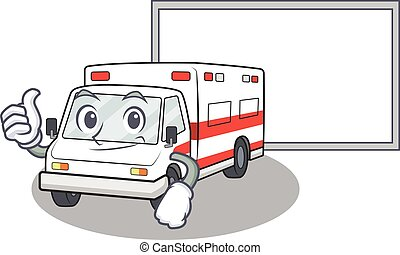 Thumbs up of ambulance cartoon design with board