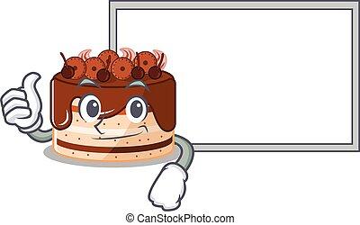 Thumbs up of chocolate cake cartoon design having a board