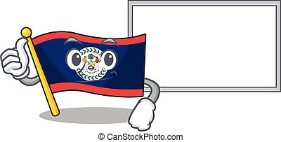 Thumbs up of flag belize cartoon design with board
